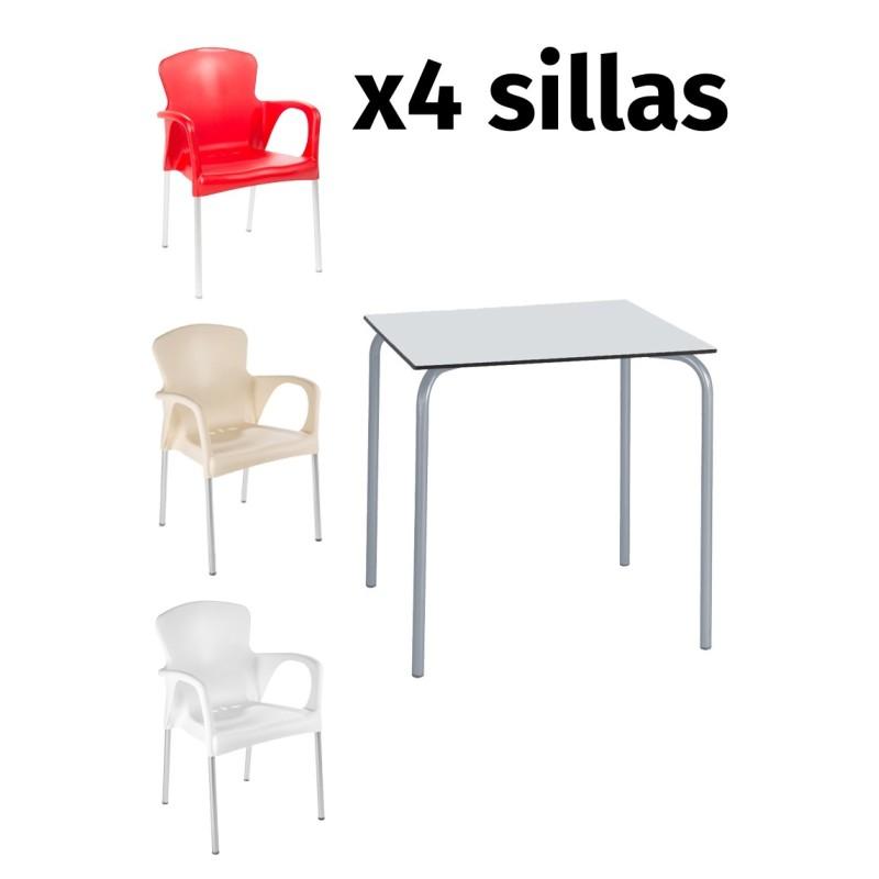 alt= Pack mesa SITA + 4 sillas GRACE