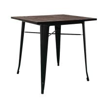 alt= mesa Tolix madera oscura