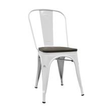 silla TOLIX color blanco con asiento de madera