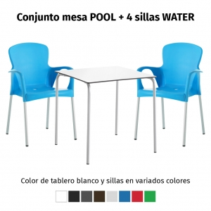 Oferta 1 mesa POOL y 4 sillas WATER