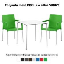 Oferta 1 mesa POOL y 4 sillas SUNNY