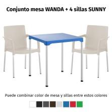 Oferta 1 mesa WANDA y 4 sillas SUNNY