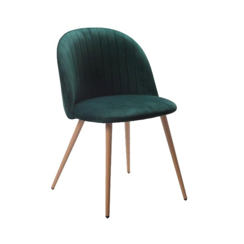 silla nórdica CONCHA terciopelo color verde oscuro