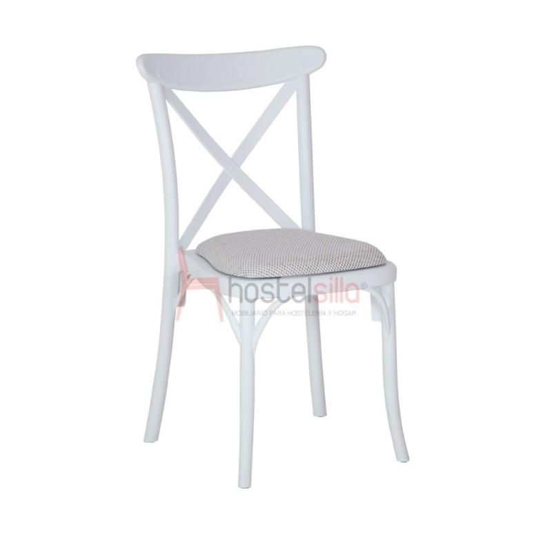 silla REINA de plástico con asiento tapizado|Mobiliario vintage para bar, restaurante, pub y cafetería.