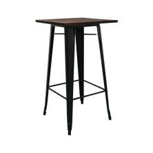 alt= mesa alta Tolix madera oscura