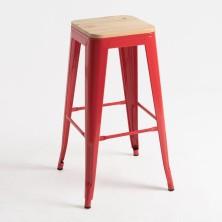 alt= taburete Tolix madera natural